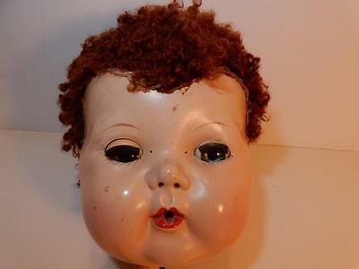 """VINTAGE 1950s AMERICAN CHARACTER TINY TEARS DOLL HEAD CARACUL WIG FOR 16"""" DOLL"""