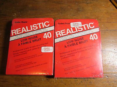 2 New Sealed Blank Realistic Low Noise 40 Recording 8 Track Tapes