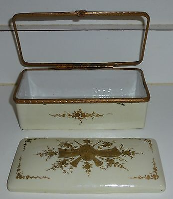 Antique White W Gold Porcelain Large Trinket Jewelry Box for Repair