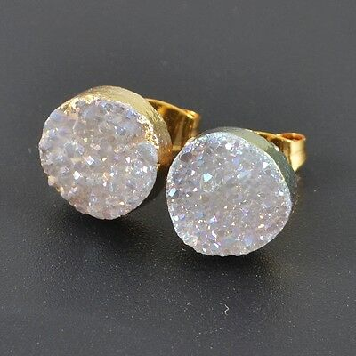10mm Round Natural Agate Druzy Titanium AB Stud Earrings Gold Plated T026786