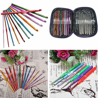 6/9/22pcs Aluminum Plastic Handle Knitting Needle Set Crochet Hooks Weave Crafts