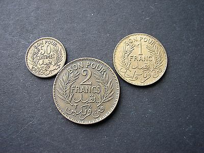 Set of 3   coins from Tunisia
