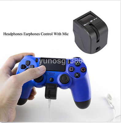 1pcs Professional Earphone Controller For PS4 Handle Headset Adapter Black US