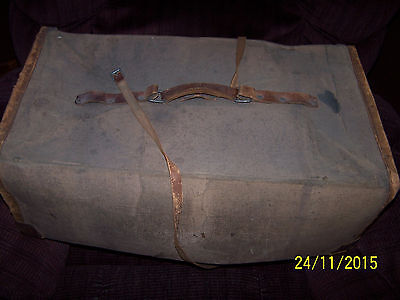 """very vintage brown canvas military belted travel box 23"""" x 12"""" x 8"""""""