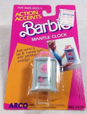 Mattel Barbie Doll Action Accents Wind Up Mantle Clock  Arco Nip