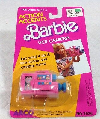 Mattel Barbie Doll Action Accents Wind Up Vcr Camera Arco Nip
