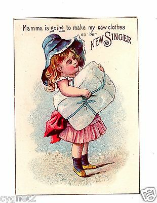 Trade Card U.s. Singer Sewing Machine Girl With Package