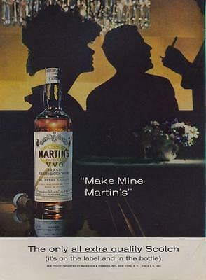 "1962 ""Make Mine"" Martin's Scotch Vintage Bottle  PRINT AD"