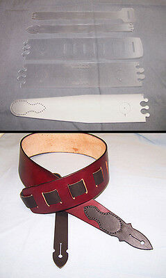 "2-1/2"" Guitar Strap Template Set - New Style With End Tabs - Leather Craft"