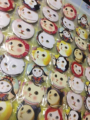 6pcs Cat 45mm Plastic Badge Brooch Pin Birthday Party Lolly Bag Gift