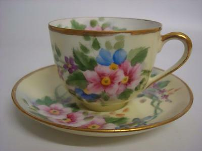 Vintage Noritake Hand Painted Floral And Gilt Tea Cup & Saucer Signed