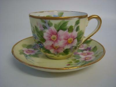 Vintage Noritake Hand Painted Floral And Gilt Tea Cup & Saucer