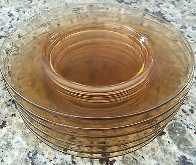 "6 Vintage Antique Amber Depression Glass 7 1/2"" Plates - Excellent!"