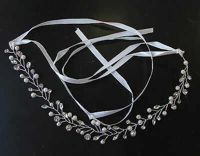 Silver Diamante Ivory Pearl Hair Vine Headpiece Headband Bridal Wedding Vtg 1848