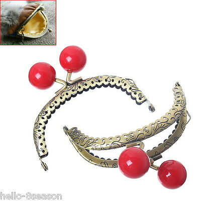 Hot Metal Frame  Clasp Arch For Purse Bag Bronze Red Resin Ball 8.6x7cm