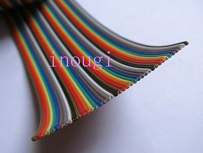 2.54mm 40 pins Dupont Wire Flat Color Rainbow Ribbon Cable 20cm 1.27mm line New
