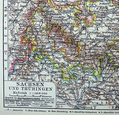 Original 1933 German Map of Saxony and Thuringa, Germany by Meyers