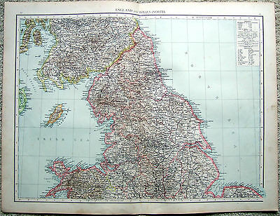 Original 1896 Map of The Northern Part of England & Wales by Velhagen & Klasing