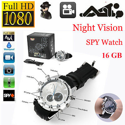1080P HD Waterproof Spy Camera DVR Watch Hidden Video Recorder IR Night Vision