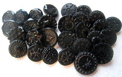 Large Lot Antique/ Victorian Black Glass Incised, Etched, Pressed Buttons Lot #3