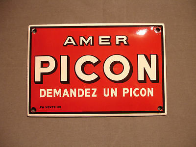 PLAQUE EMAILLEE bombee DEMANDEZ AMER PICON BIERE BAR ENAMEL SIGN EMAIL TOLE