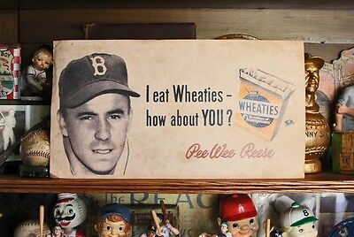 Antique Brooklyn Dodgers Baseball Pee Wee Reese Wheaties Cereal Paper Stock Sign