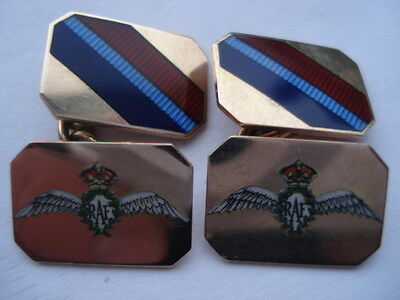 Scarce C1930S Vintage R.a.f.9Ct Gold & Hand Painted Enamel Gents Cufflinks