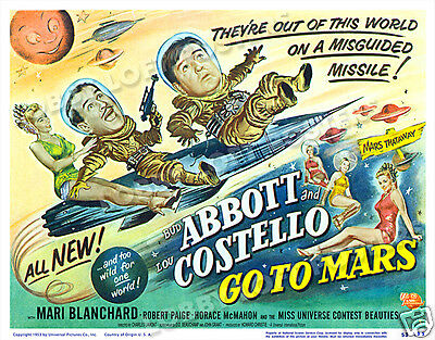 Abbott And Costello Go To Mars Lobby Title Card Poster 1953 Mari Blanchard