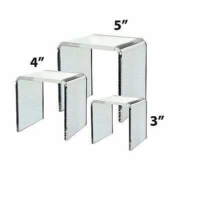 Business Party Countertop Display Stand 3 Clear Acrylic Riser Set Showcase 5x4x3