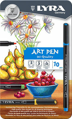 Lyra Art Pens - Set of 10 - Fine Nib - Water Soluble - High Quality Fibre Tip