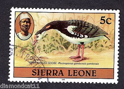 1980 Sierra Leone 5c Spur winged goose SG 625b FINE USED R25809