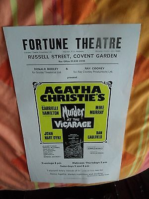 Agatha Christie's - Murder At The Vicarage - Fortune Theatre London  - 1977