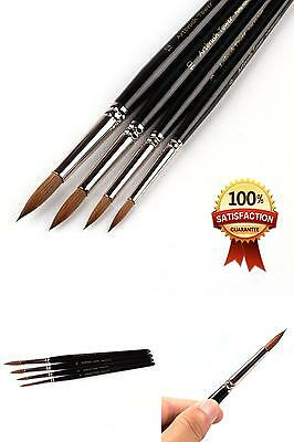 Kolinsky Watercolor Painting Brush,Round Red Sable with Black Gift Box,4 Brushes