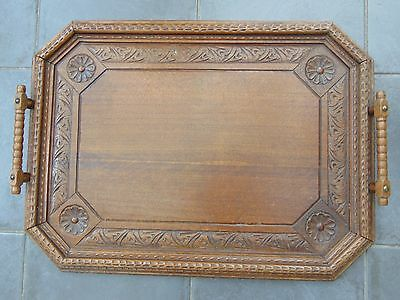 Large Antique Victorian Edwardian Carved Oak Wood Butlers Gallery Serving Tray