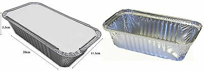 6 Large Silver Foil Food Trays Lids Serving Takeaway Dish Catering Disposable