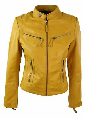 100% Ladies Real Leather Jacket Fitted Bikers Style Vintage Yellow Rock