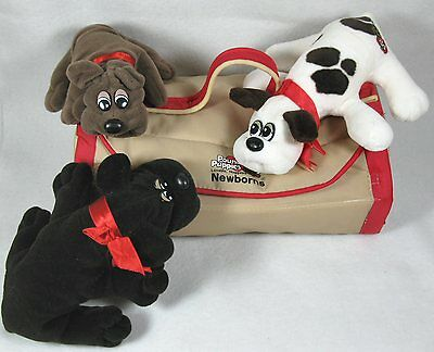 Vintage 1980's Tonka Pound Puppy Newborns Lot of 3 w/ Carrier Carry Case