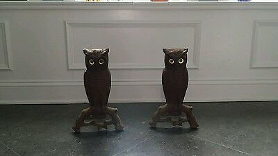 Antique Howe Cast Iron  Owl Andirons/firedogs With Glass Eyes, Usa