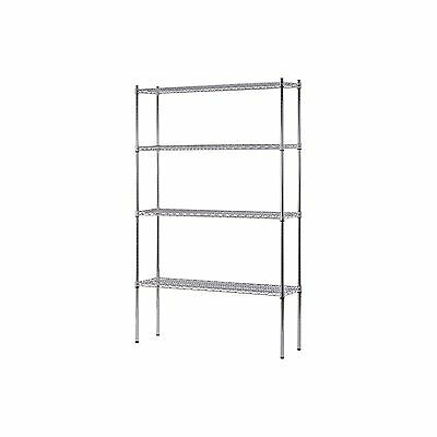 "Heavy Duty NSF Certified 4-Level Wire Shelving - Chrome (74""H x 48""W x 12""D) NEW"