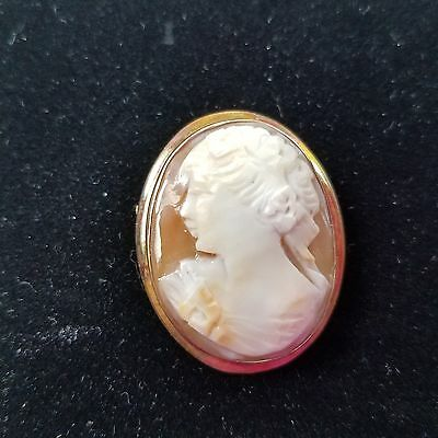 Early Carved Cameo Shell Left Facing Woman Brooch Pendant Signed Gold Filled