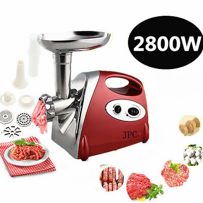 New 2800W Kitchen Steel Electric Meat Mincer Grinder Sausage Maker Filler Red
