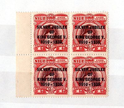 Cook Islands KGV 1935 1d Block of 4 SG113 Mint MNH(3) X5417