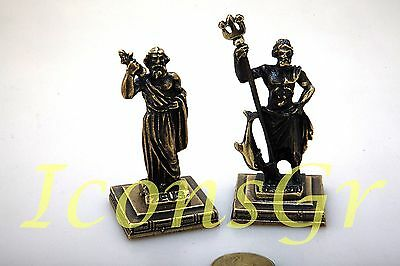 Ancient Greek Miniatures Olympian Gods Pantheon Sculpture Statue Zamac Set 2 pcs
