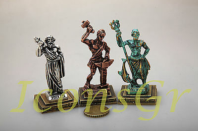 Ancient Greek Miniatures Olympian Gods Pantheon Sculpture Statue Zamac Set 3 pcs