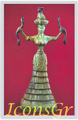 Ancient Greek Bronze Museum Statue Replica Of Snake Goddess (1251)