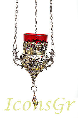 Orthodox Oil Lamp Greek Byzantine Brass Church Hanging  With Chain  - 9503GN