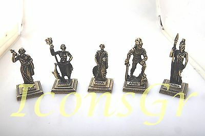 Ancient Greek Miniatures Olympian Gods Pantheon Sculpture Statue Zamac Set 5 pcs