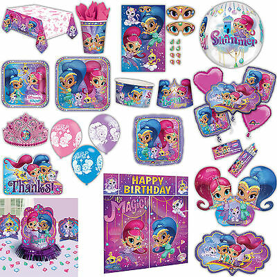 Shimmer and Shine Childrens Birthday Party Tableware Plates Cups Napkins Listing