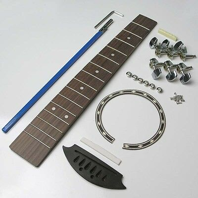 Travel guitar kit, fingerboard, truss rod, nut, saddle, tuners, Rosette TGK