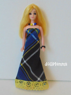 DAWN DOLL CLOTHES vintage or repro Plaid GOWN & JEWELRY SET FASHION NO DOLL d4e
